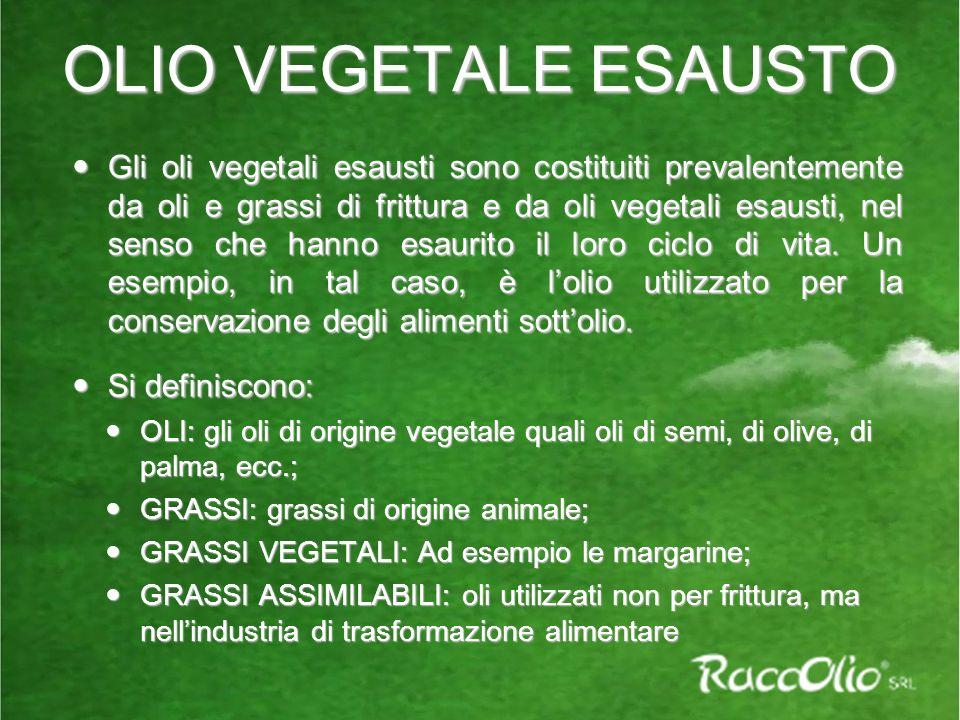 OLIO VEGETALE ESAUSTO Gli oli vegetali esausti sono costituiti prevalentemente da oli e grassi di frittura e da oli vegetali esausti, nel senso che hanno esaurito il loro ciclo di vita.