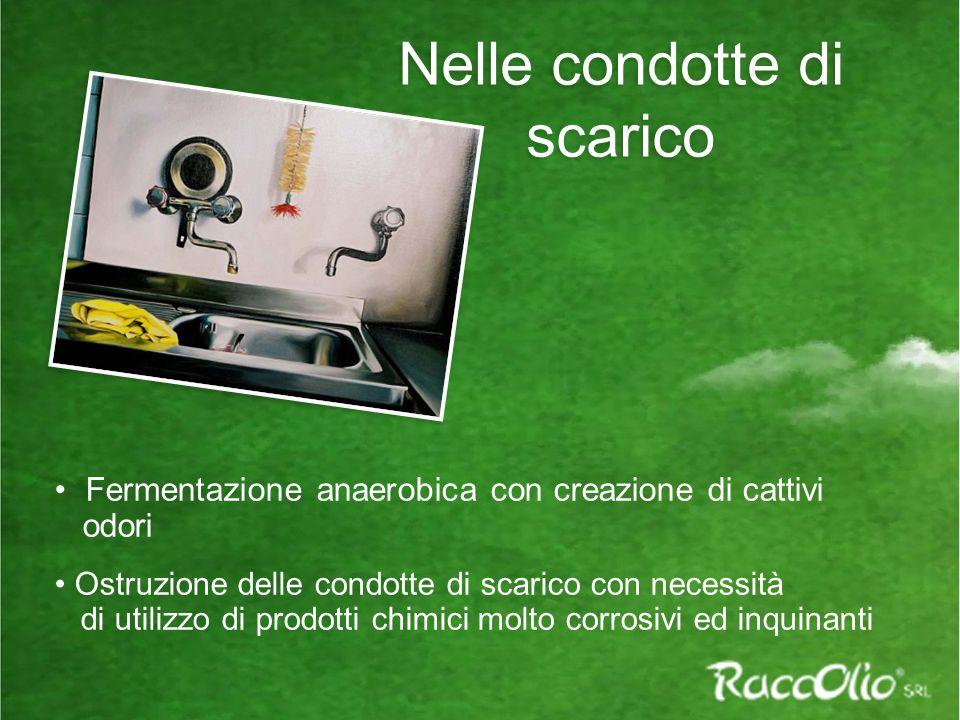 Nelle condotte di scarico Fermentazione anaerobica con creazione di cattivi odori Ostruzione delle condotte di scarico con necessità di utilizzo di pr