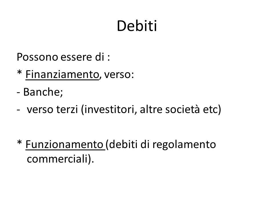 Debiti Possono essere di : * Finanziamento, verso: - Banche; -verso terzi (investitori, altre società etc) * Funzionamento (debiti di regolamento comm