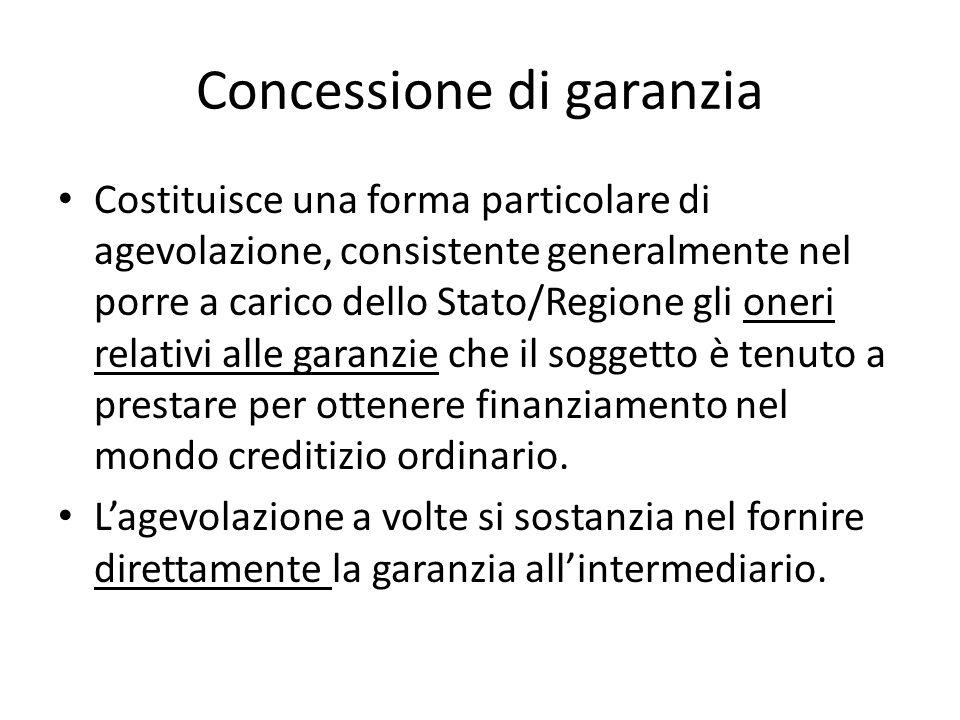 Concessione di garanzia Costituisce una forma particolare di agevolazione, consistente generalmente nel porre a carico dello Stato/Regione gli oneri r