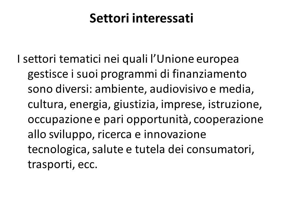 Settori interessati I settori tematici nei quali lUnione europea gestisce i suoi programmi di finanziamento sono diversi: ambiente, audiovisivo e medi