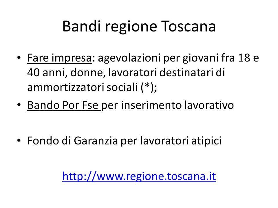 Bandi regione Toscana Fare impresa: agevolazioni per giovani fra 18 e 40 anni, donne, lavoratori destinatari di ammortizzatori sociali (*); Bando Por