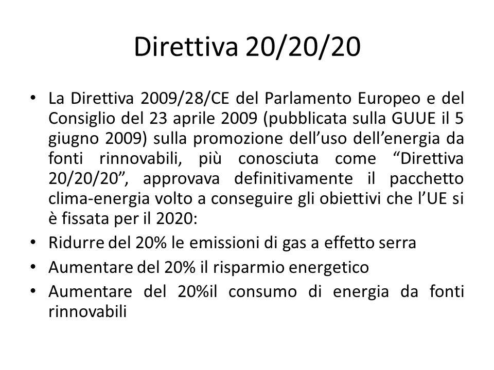 Direttiva 20/20/20 La Direttiva 2009/28/CE del Parlamento Europeo e del Consiglio del 23 aprile 2009 (pubblicata sulla GUUE il 5 giugno 2009) sulla pr