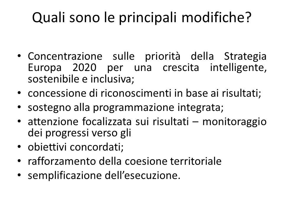 Quali sono le principali modifiche? Concentrazione sulle priorità della Strategia Europa 2020 per una crescita intelligente, sostenibile e inclusiva;