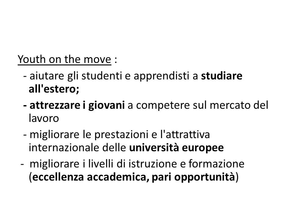 Youth on the move : - aiutare gli studenti e apprendisti a studiare all'estero; - attrezzare i giovani a competere sul mercato del lavoro - migliorare