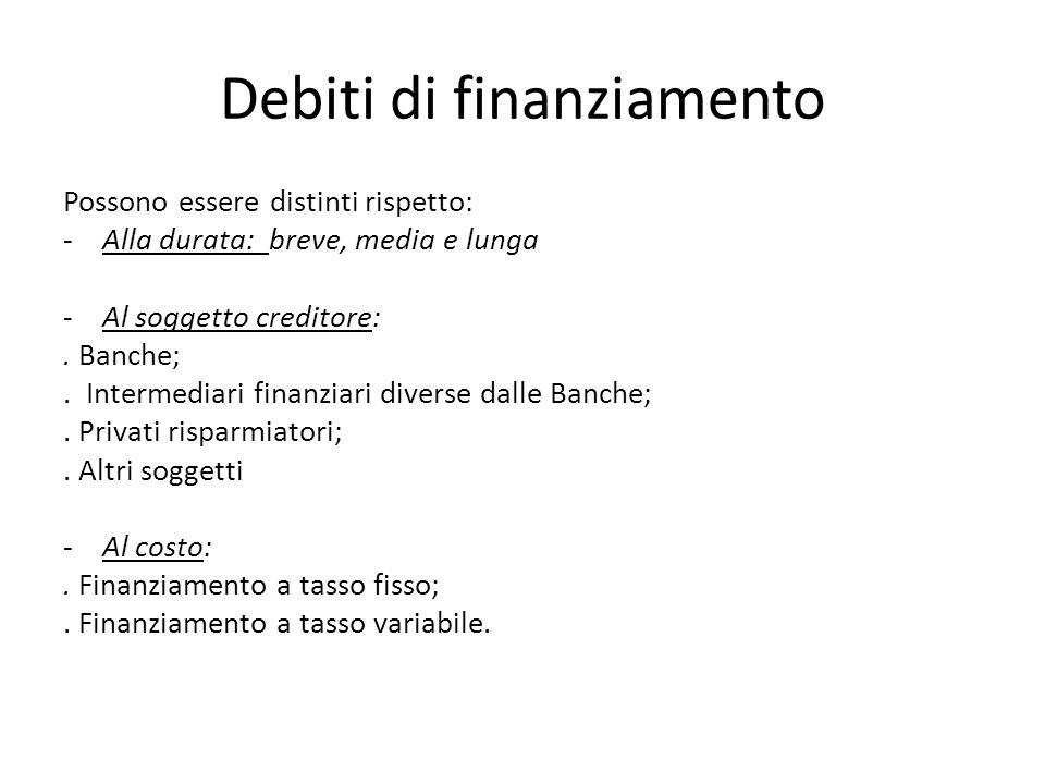 Debiti di finanziamento Possono essere distinti rispetto: -Alla durata: breve, media e lunga -Al soggetto creditore:. Banche;. Intermediari finanziari
