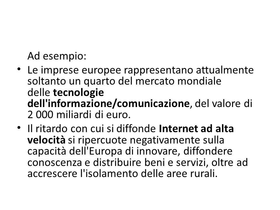 Ad esempio: Le imprese europee rappresentano attualmente soltanto un quarto del mercato mondiale delle tecnologie dell'informazione/comunicazione, del