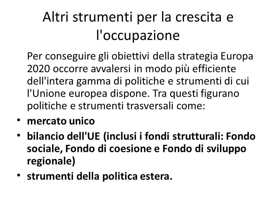 Altri strumenti per la crescita e l'occupazione Per conseguire gli obiettivi della strategia Europa 2020 occorre avvalersi in modo più efficiente dell