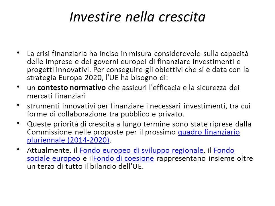 Investire nella crescita La crisi finanziaria ha inciso in misura considerevole sulla capacità delle imprese e dei governi europei di finanziare inves