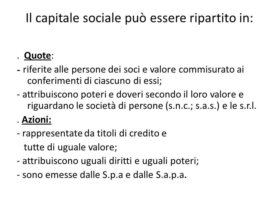 Il capitale sociale può essere ripartito in:. Quote: - riferite alle persone dei soci e valore commisurato ai conferimenti di ciascuno di essi; - attr