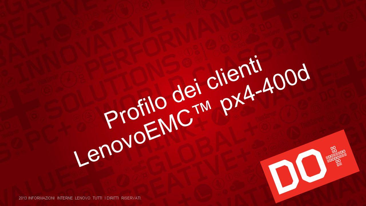 Profilo dei clienti LenovoEMC px4-400d 2013 INFORMAZIONI INTERNE LENOVO. TUTTI I DIRITTI RISERVATI.