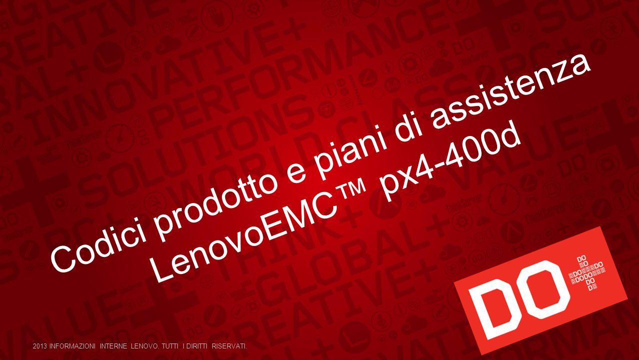 Codici prodotto e piani di assistenza LenovoEMC px4-400d 2013 INFORMAZIONI INTERNE LENOVO. TUTTI I DIRITTI RISERVATI.