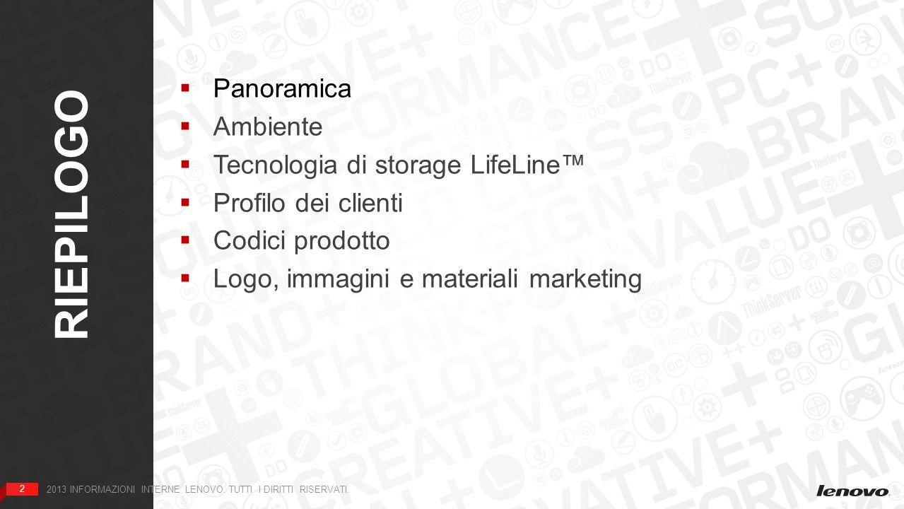 2 RIEPILOGO 2 2013 INFORMAZIONI INTERNE LENOVO. TUTTI I DIRITTI RISERVATI. Panoramica Ambiente Tecnologia di storage LifeLine Profilo dei clienti Codi