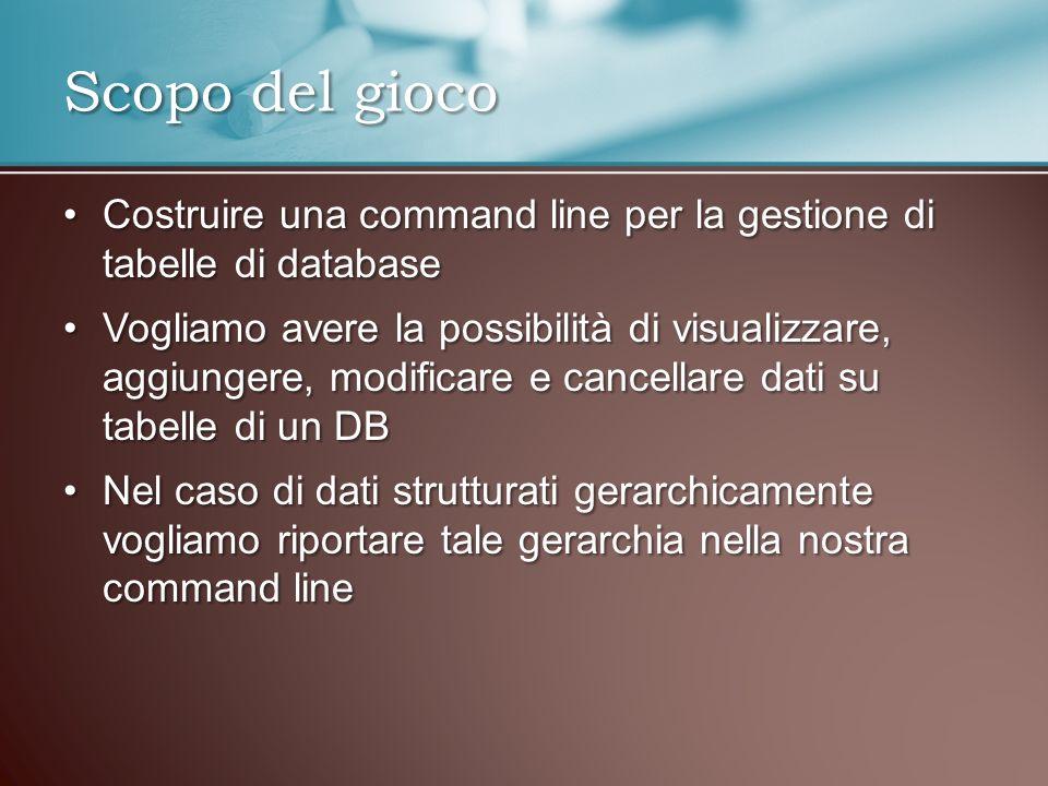 Scopo del gioco Costruire una command line per la gestione di tabelle di databaseCostruire una command line per la gestione di tabelle di database Vog