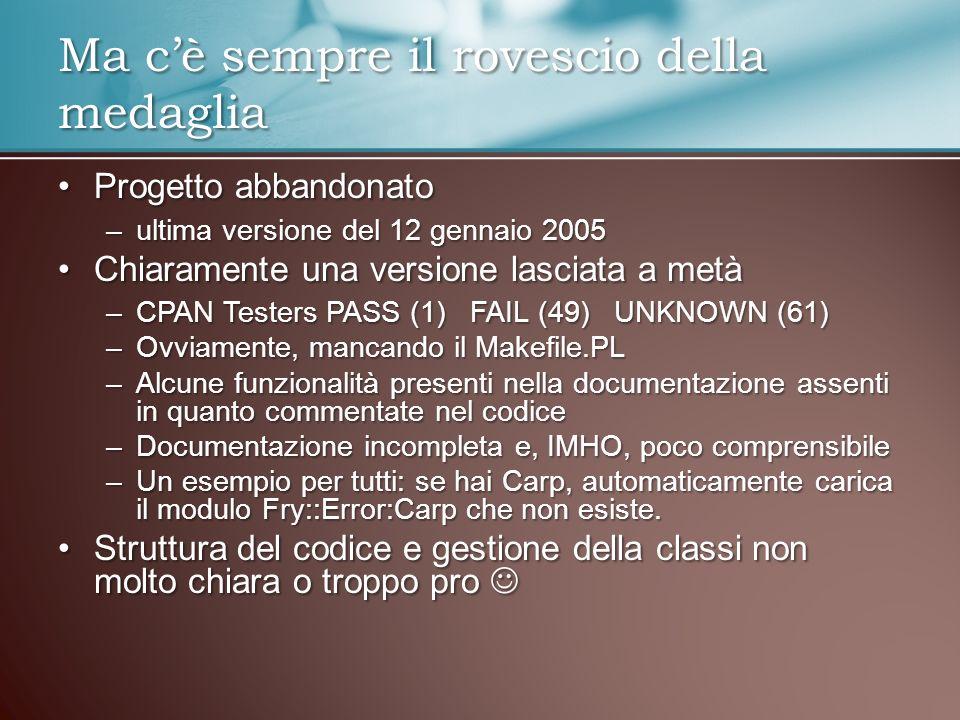 Progetto abbandonatoProgetto abbandonato –ultima versione del 12 gennaio 2005 Chiaramente una versione lasciata a metàChiaramente una versione lasciat