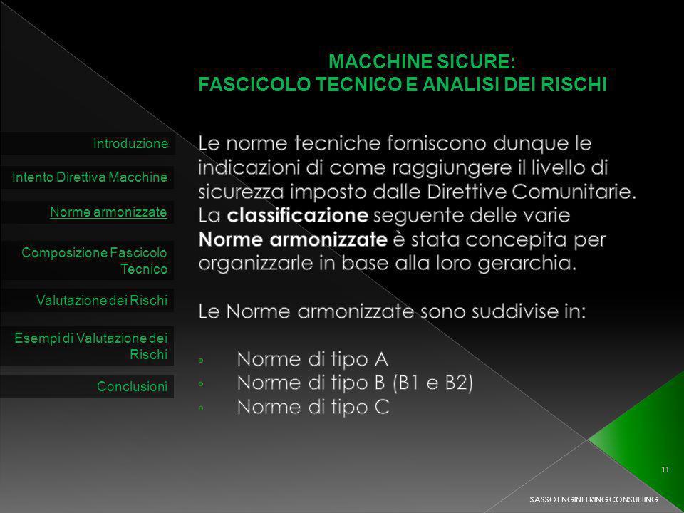 MACCHINE SICURE: FASCICOLO TECNICO E ANALISI DEI RISCHI Introduzione Intento Direttiva Macchine Norme armonizzate Composizione Fascicolo Tecnico Valutazione dei Rischi SASSO ENGINEERING CONSULTING 11 Esempi di Valutazione dei Rischi Conclusioni