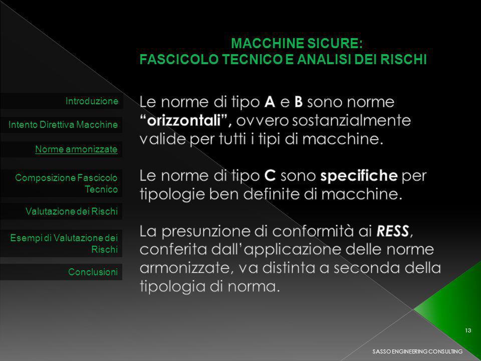 MACCHINE SICURE: FASCICOLO TECNICO E ANALISI DEI RISCHI Introduzione Intento Direttiva Macchine Norme armonizzate Composizione Fascicolo Tecnico Valutazione dei Rischi SASSO ENGINEERING CONSULTING 13 Esempi di Valutazione dei Rischi Conclusioni