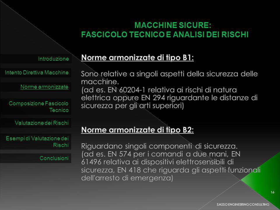 MACCHINE SICURE: FASCICOLO TECNICO E ANALISI DEI RISCHI Introduzione Intento Direttiva Macchine Norme armonizzate Composizione Fascicolo Tecnico Valutazione dei Rischi SASSO ENGINEERING CONSULTING 16 Esempi di Valutazione dei Rischi Conclusioni