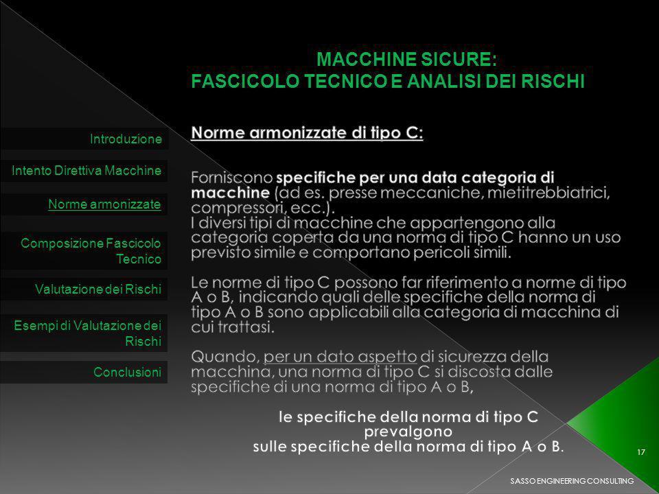 MACCHINE SICURE: FASCICOLO TECNICO E ANALISI DEI RISCHI Introduzione Intento Direttiva Macchine Norme armonizzate Composizione Fascicolo Tecnico Valutazione dei Rischi SASSO ENGINEERING CONSULTING 17 Esempi di Valutazione dei Rischi Conclusioni