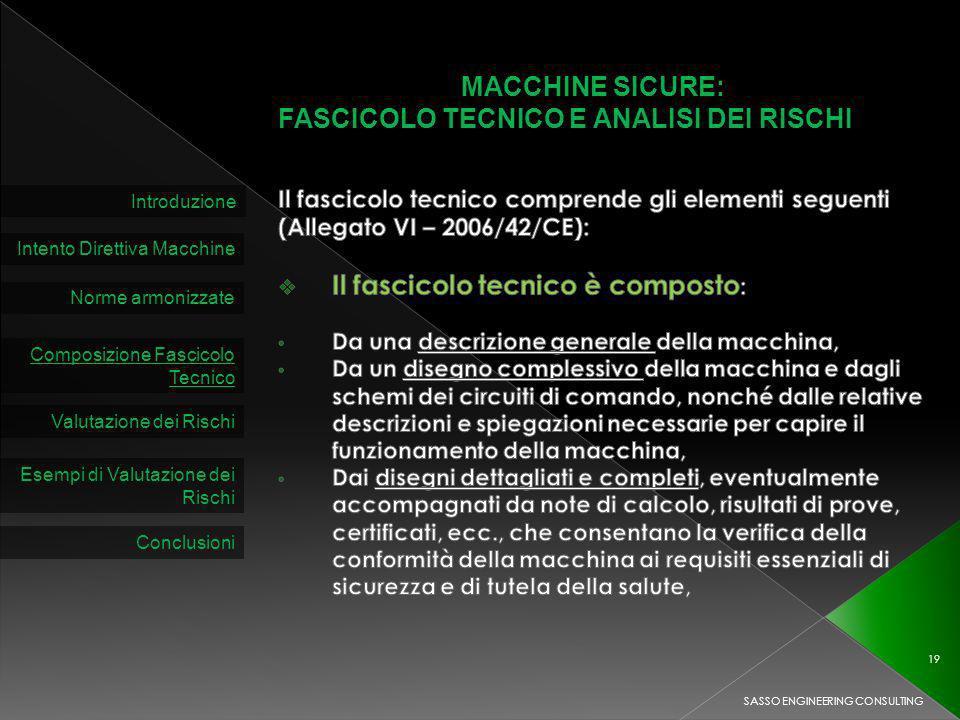 MACCHINE SICURE: FASCICOLO TECNICO E ANALISI DEI RISCHI Introduzione Intento Direttiva Macchine Norme armonizzate Composizione Fascicolo Tecnico Valutazione dei Rischi SASSO ENGINEERING CONSULTING 19 Esempi di Valutazione dei Rischi Conclusioni