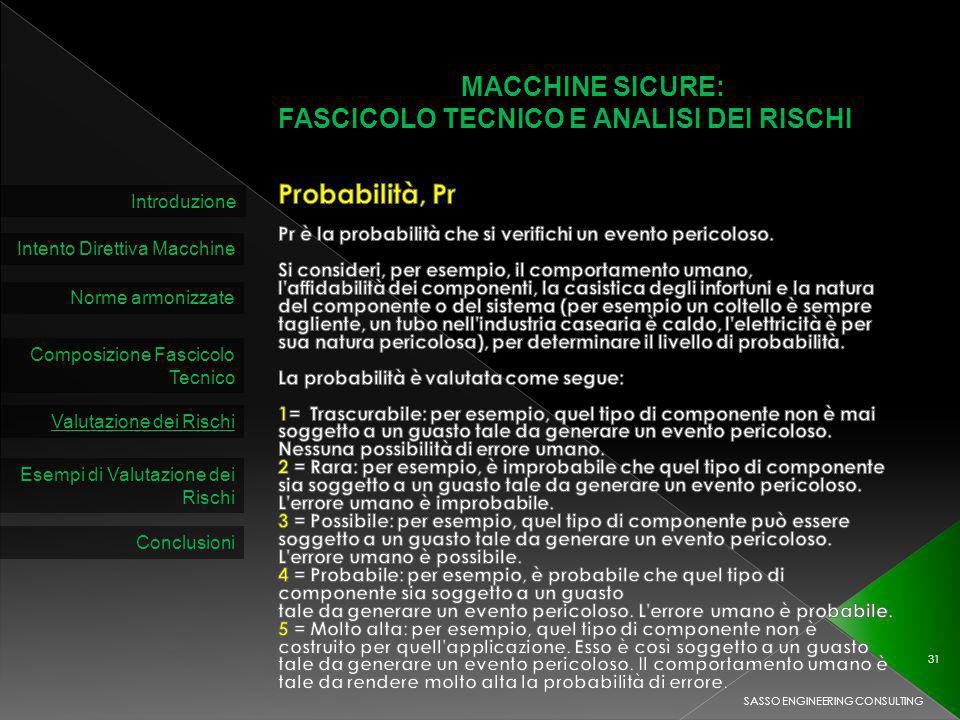 MACCHINE SICURE: FASCICOLO TECNICO E ANALISI DEI RISCHI Introduzione Intento Direttiva Macchine Norme armonizzate Composizione Fascicolo Tecnico Valutazione dei Rischi SASSO ENGINEERING CONSULTING 31 Esempi di Valutazione dei Rischi Conclusioni