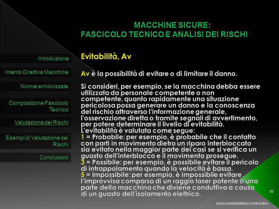 MACCHINE SICURE: FASCICOLO TECNICO E ANALISI DEI RISCHI Introduzione Intento Direttiva Macchine Norme armonizzate Composizione Fascicolo Tecnico Valutazione dei Rischi SASSO ENGINEERING CONSULTING 32 Esempi di Valutazione dei Rischi Conclusioni