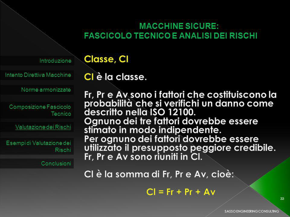 MACCHINE SICURE: FASCICOLO TECNICO E ANALISI DEI RISCHI Introduzione Intento Direttiva Macchine Norme armonizzate Composizione Fascicolo Tecnico Valutazione dei Rischi SASSO ENGINEERING CONSULTING 33 Esempi di Valutazione dei Rischi Conclusioni