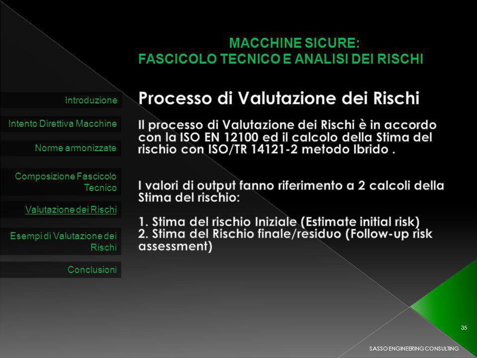MACCHINE SICURE: FASCICOLO TECNICO E ANALISI DEI RISCHI Introduzione Intento Direttiva Macchine Norme armonizzate Composizione Fascicolo Tecnico Valutazione dei Rischi SASSO ENGINEERING CONSULTING 35 Esempi di Valutazione dei Rischi Conclusioni