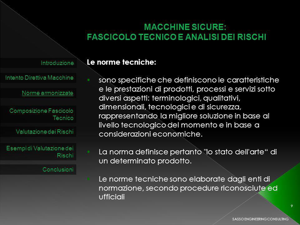 MACCHINE SICURE: FASCICOLO TECNICO E ANALISI DEI RISCHI Introduzione Intento Direttiva Macchine Norme armonizzate Composizione Fascicolo Tecnico Le no