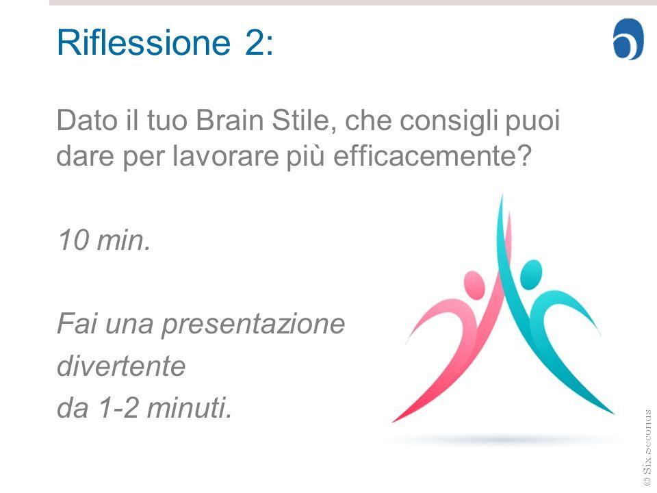 © Six Seconds Riflessione 2: Dato il tuo Brain Stile, che consigli puoi dare per lavorare più efficacemente? 10 min. Fai una presentazione divertente