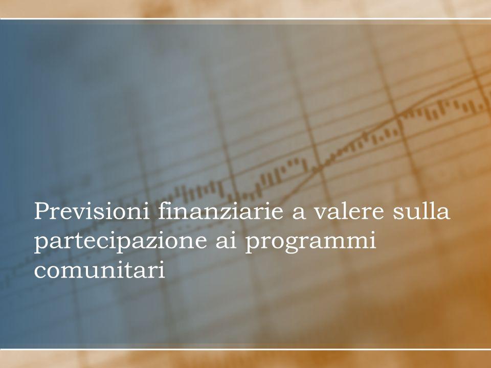 Previsioni finanziarie a valere sulla partecipazione ai programmi comunitari