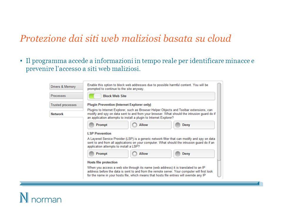 Protezione dai siti web maliziosi basata su cloud Il programma accede a informazioni in tempo reale per identificare minacce e prevenire l'accesso a s