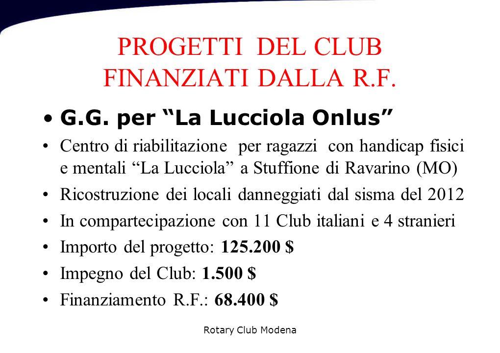 PROGETTI DEL CLUB FINANZIATI DALLA R.F. G.G.