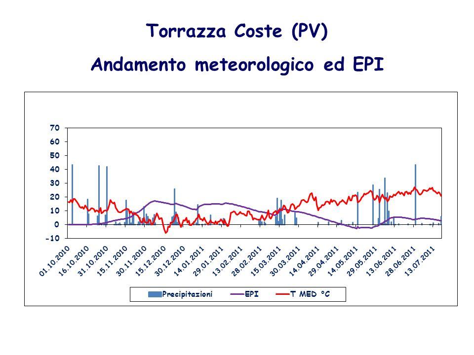 Torrazza Coste (PV) Andamento meteorologico ed EPI