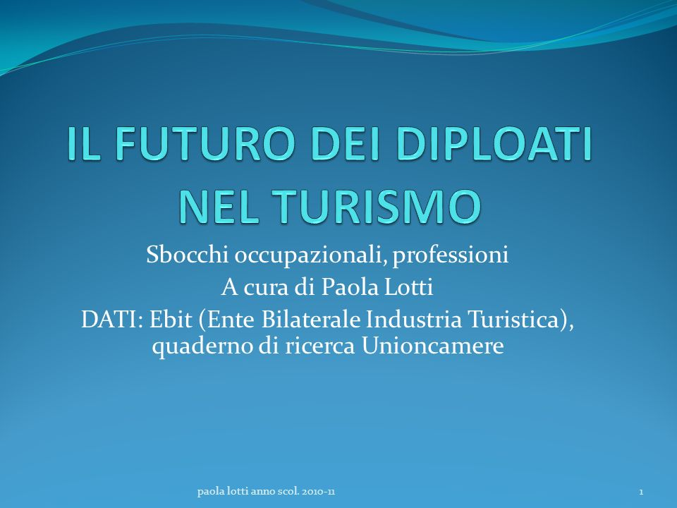 Sbocchi occupazionali, professioni A cura di Paola Lotti DATI: Ebit (Ente Bilaterale Industria Turistica), quaderno di ricerca Unioncamere 1paola lott