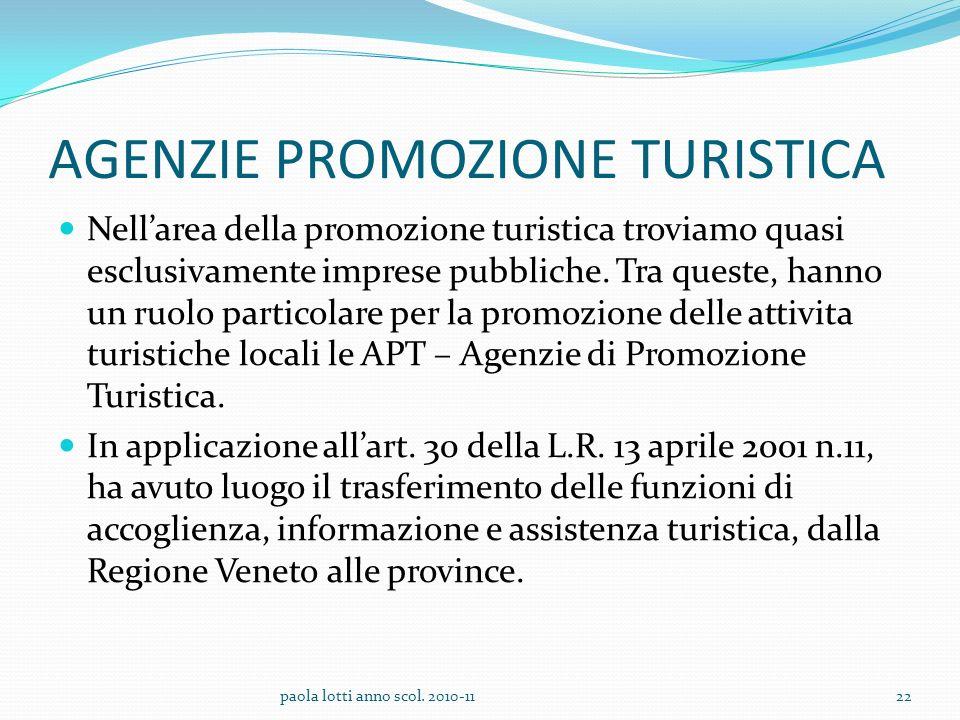 AGENZIE PROMOZIONE TURISTICA Nellarea della promozione turistica troviamo quasi esclusivamente imprese pubbliche. Tra queste, hanno un ruolo particola