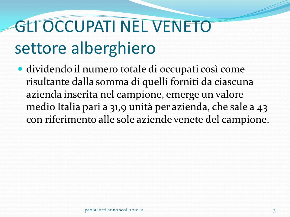 ALBERGHI Il personale degli alberghi interpellati si distribuisce in varie aree funzionali Amministrazione al quale è talvolta associato lUfficio Gestione del personale, Reception/Segreteria, Reparto cure Commerciale e marketing reparti Alloggi, Ristorante e Bar 14paola lotti anno scol.