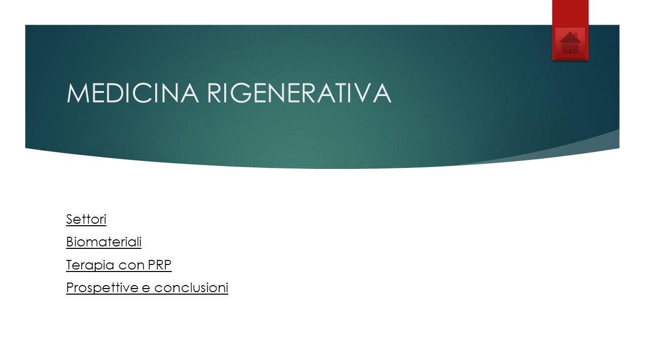 MEDICINA RIGENERATIVA Settori Biomateriali Terapia con PRP Prospettive e conclusioni