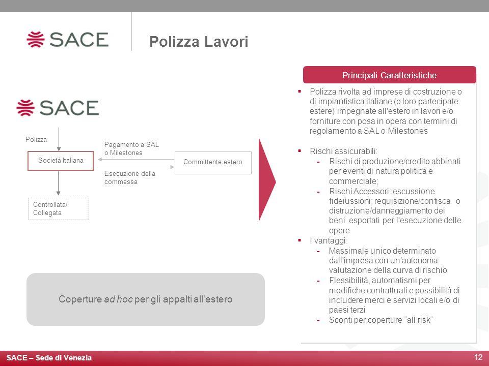 12 Coperture ad hoc per gli appalti allestero Polizza rivolta ad imprese di costruzione o di impiantistica italiane (o loro partecipate estere) impegn
