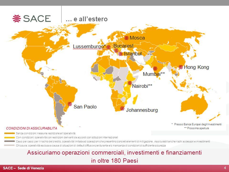 4 … e allestero Assicuriamo operazioni commerciali, investimenti e finanziamenti in oltre 180 Paesi Senza condizioni: nessuna restrizione alloperativi