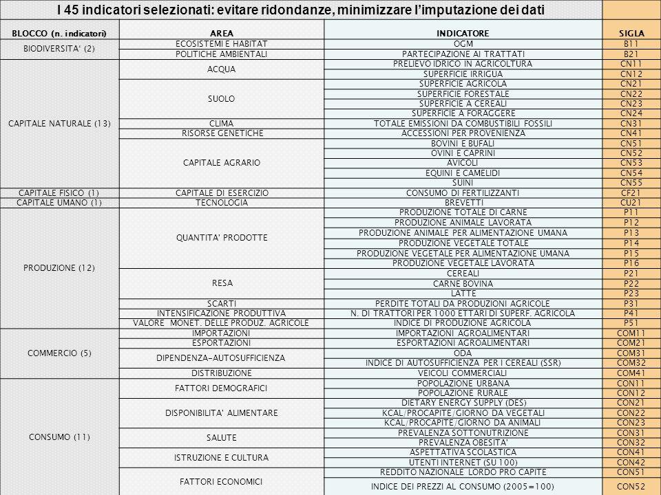 I 45 indicatori selezionati: evitare ridondanze, minimizzare limputazione dei dati BLOCCO (n.