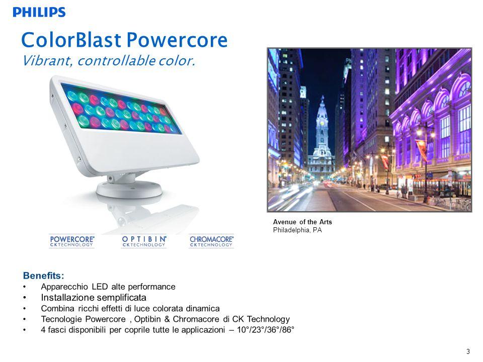 3 ColorBlast Powercore Vibrant, controllable color. Avenue of the Arts Philadelphia, PA
