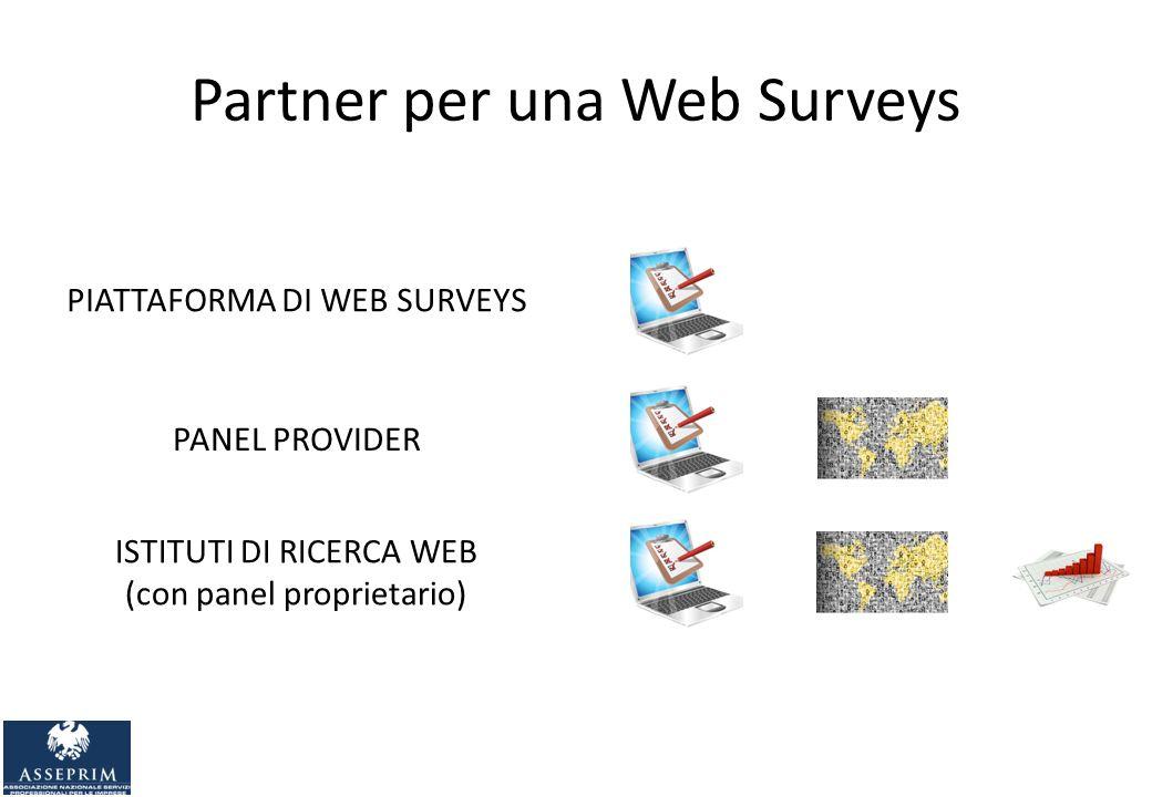 Partner per una Web Surveys PIATTAFORMA DI WEB SURVEYS PANEL PROVIDER ISTITUTI DI RICERCA WEB (con panel proprietario)
