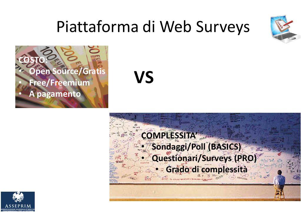 Piattaforma di Web Surveys VS COSTO: Open Source/Gratis Free/Freemium A pagamento COMPLESSITA Sondaggi/Poll (BASICS) Questionari/Surveys (PRO) Grado di complessità