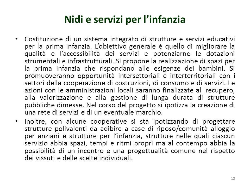 Nidi e servizi per linfanzia Costituzione di un sistema integrato di strutture e servizi educativi per la prima infanzia.