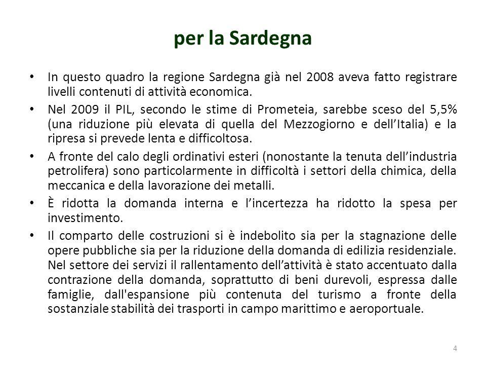 per la Sardegna In questo quadro la regione Sardegna già nel 2008 aveva fatto registrare livelli contenuti di attività economica.