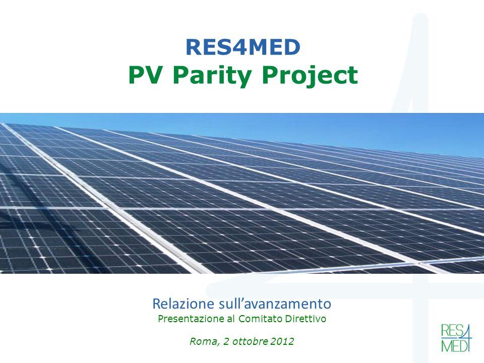 RES4MED PV Parity Project Relazione sullavanzamento Presentazione al Comitato Direttivo Roma, 2 ottobre 2012
