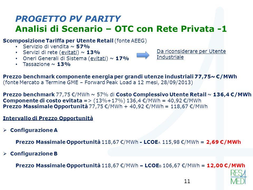 PROGETTO PV PARITY Analisi di Scenario – OTC con Rete Privata -1 Scomposizione Tariffa per Utente Retail (fonte AEEG) Servizio di vendita ~ 57% Servizi di rete (evitati) ~ 13% Oneri Generali di Sistema (evitati) ~ 17% Tassazione ~ 13% Prezzo benchmark componente energia per grandi utenze industriali 77,75~ /MWh (fonte Mercato a Termine GME – Forward Peak Load a 12 mesi, 28/09/2013) Prezzo benchmark 77,75 /MWh ~ 57% di Costo Complessivo Utente Retail ~ 136,4 /MWh Componente di costo evitata => (13%+17%) 136,4 /MWh = 40,92 /MWh Prezzo Massimale Opportunità 77,75 /MWh + 40,92 /MWh = 118,67 /MWh Intervallo di Prezzo Opportunità Configurazione A Prezzo Massimale Opportunità 118,67 /MWh - LCOE A 115,98 /MWh = 2,69 /MWh Configurazione B Prezzo Massimale Opportunità 118,67 /MWh – LCOE B 106,67 /MWh = 12,00 /MWh Da riconsiderare per Utente Industriale 11