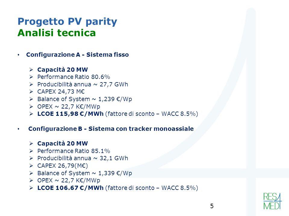 Progetto PV parity Analisi tecnica Configurazione A - Sistema fisso Capacità 20 MW Performance Ratio 80.6% Producibilità annua ~ 27,7 GWh CAPEX 24,73 M Balance of System ~ 1,239 /Wp OPEX ~ 22,7 K/MWp LCOE 115,98 /MWh (fattore di sconto – WACC 8.5%) Configurazione B - Sistema con tracker monoassiale Capacità 20 MW Performance Ratio 85.1% Producibilità annua ~ 32,1 GWh CAPEX 26,79(M) Balance of System ~ 1,339 /Wp OPEX ~ 22,7 K/MWp LCOE 106.67 /MWh (fattore di sconto – WACC 8.5%) 5