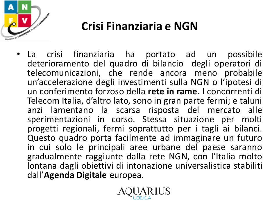 Crisi Finanziaria e NGN La crisi finanziaria ha portato ad un possibile deterioramento del quadro di bilancio degli operatori di telecomunicazioni, ch